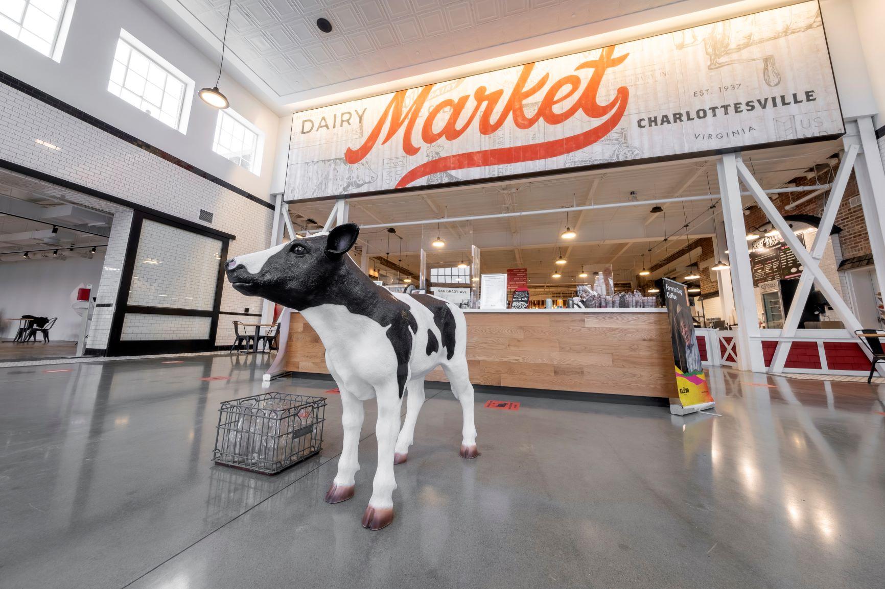 Pretend Cow in Dairy Market Entrance