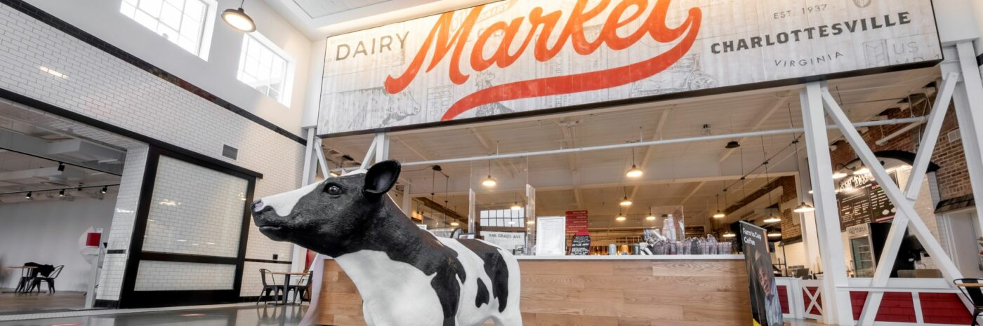 Pretend Cow in Dairy Market Entrance